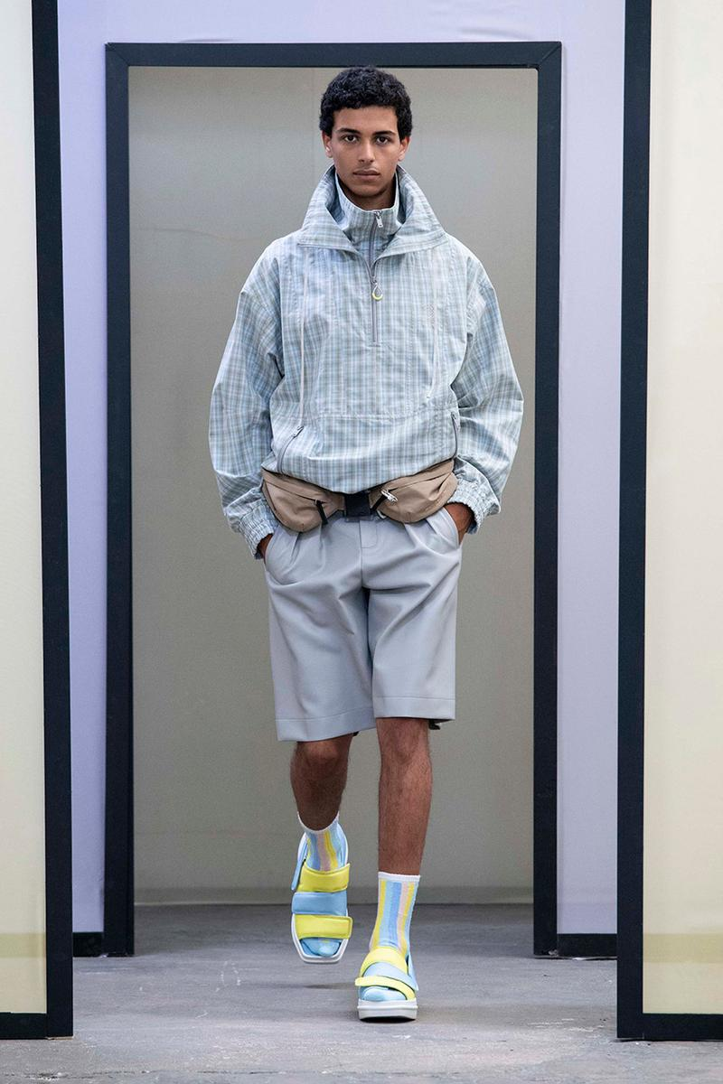 Maison Kitsuné Paris Fashion Week Men's Spring/Summer 2020 SS20 Collection Runway Looks Pastel Neon Fox Logo Branding KHROMIS Eyewear Sebago Michel Vivien Footwear Collaborations Yuni Ahn Creative Director