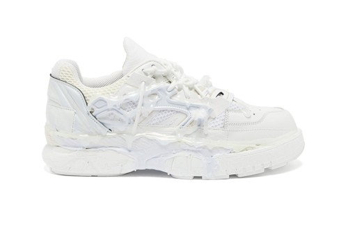 Maison Margiela Paints Glue-Covered Fusion Low Sneaker in Triple White