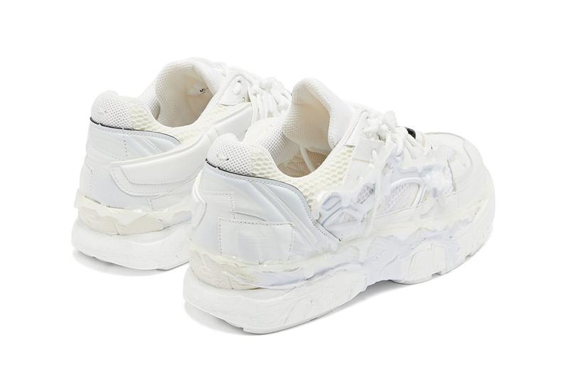 Maison Margiela Fusion Sneakers Triple White Glue Rubber Distressed Carbon Fibre leather mesh trainers MATCHESFASHION.com Cop Online Now Drop Release Information High End Pre Fall 2019