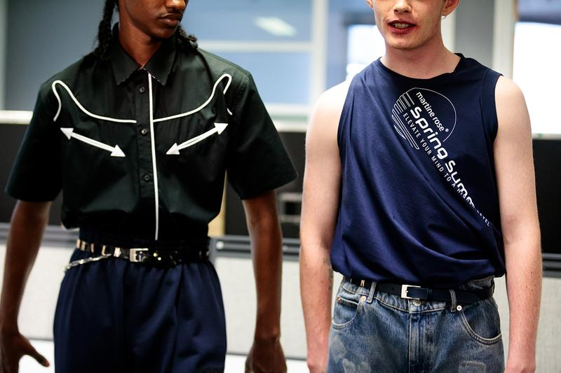 Martine rose london nike spring summer 2020 fashion week mens backstage look closer look promising britain badge t-shirt shirt jersey sweatshirt trouser sneaker trainers