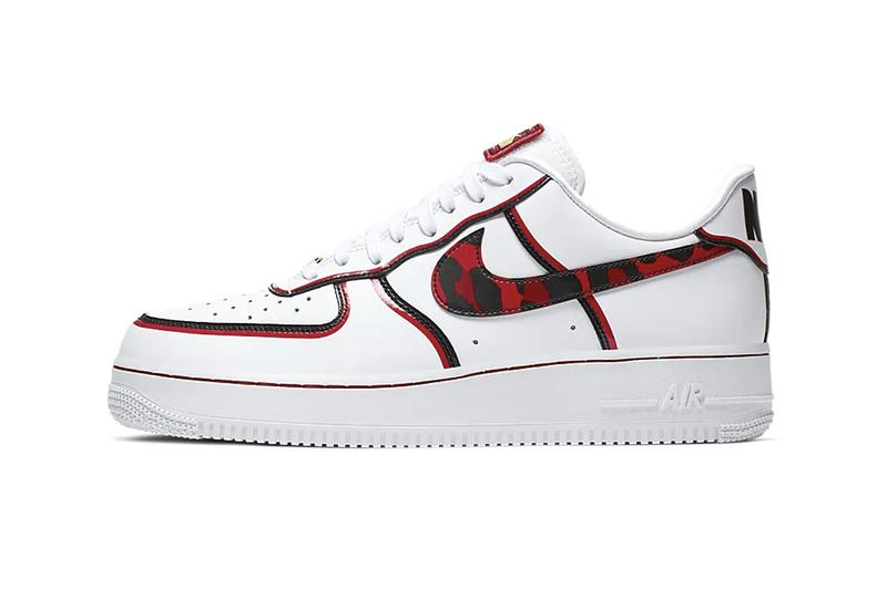 Nike Air Force 1 07 LV8 White University Red Dennis Rodman Basketball hair release style color leopard pattern black