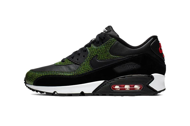 Nike Air Max 90 Green Python retro silhouette scaly swoosh black green red air sole unit 2002 white grey