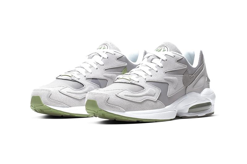 Nike Air Max2 Light Grey Chlorophyll sneaker release muted ashy footwear reflective 3M fabric logo swoosh check
