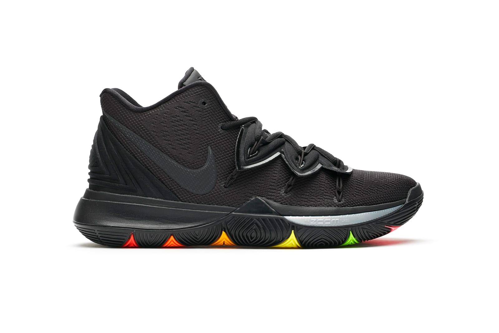 black nikes with rainbow bottom
