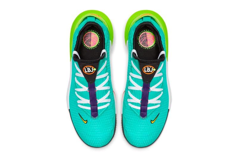 Nike LeBron 16 Low Hyper Jade Total Orange Basketball Shoes cyan teal magenta air unit technical mesh neoprene sock performance July 1 Ci2668-301
