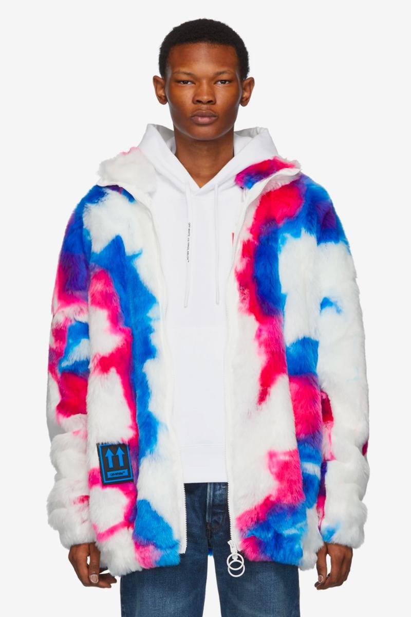 Washes of Blue, Pink & Purple Dominate Off-White™'s Faux-Fur Zip Anorak Coat