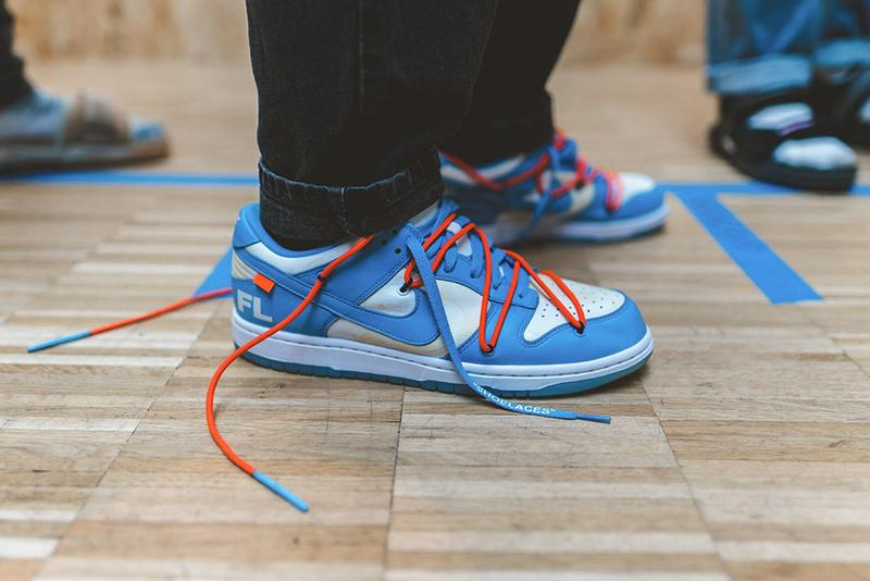 virgil abloh nike sb dunk low paris fashion week pfw spring summer futura 2020 ss20 sneaker release information unc blue orange details first look leak buy cop purchase order