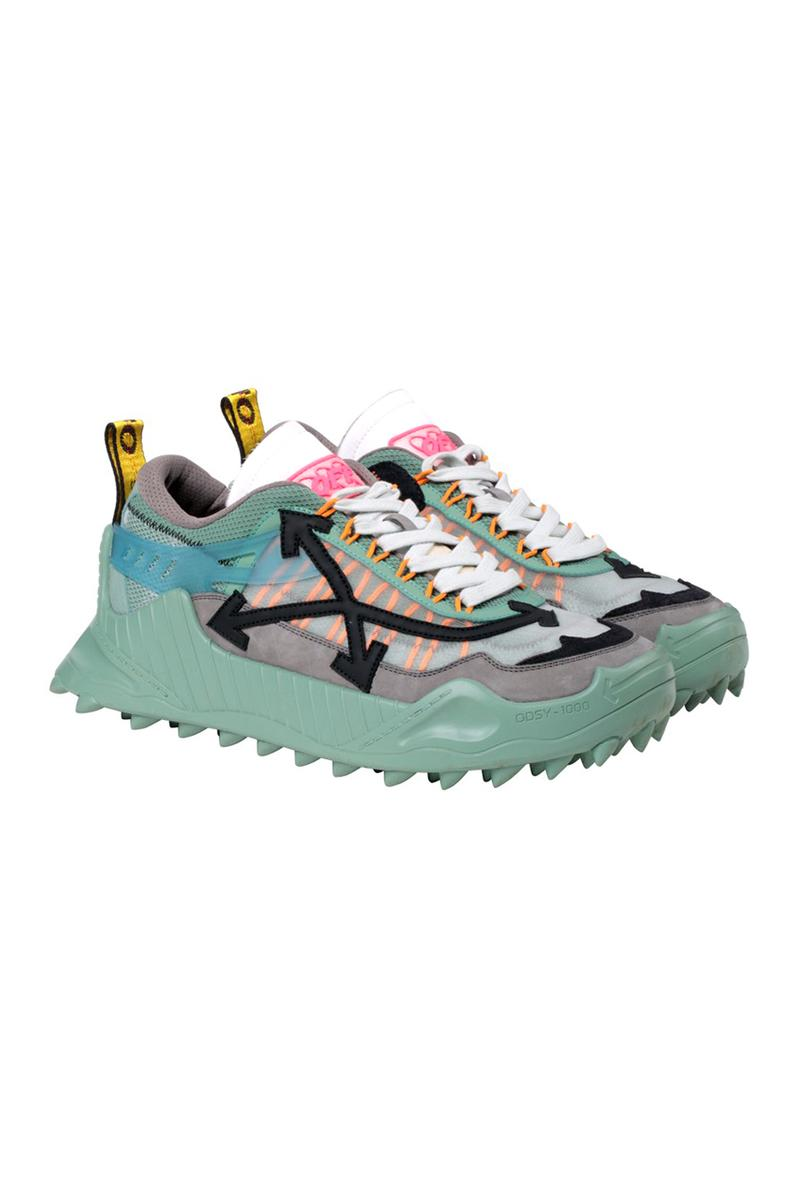 Off-White™ ODSY-1000 Pre-Order Virgil Abloh Trail treaded sneakers footwear teal mens and womens spikes midsole chunky baby blue black blue red fuchsia pink