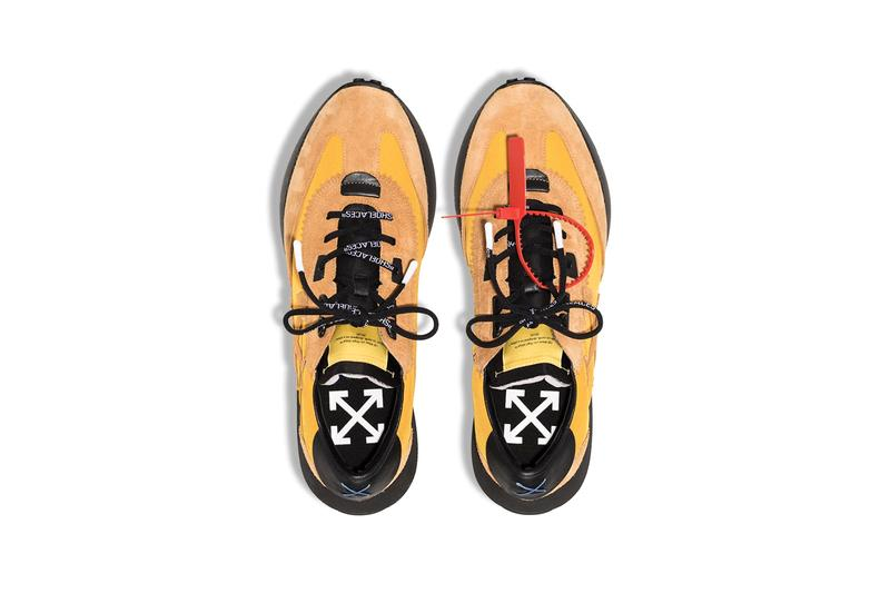 Off-White™ Running Sneaker Release Information Drop Date Cop Buy Now Virgil Abloh Design Black White Yellow Suede Rubber Nylon Track Run