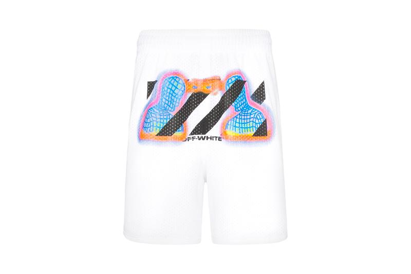 Off White Thermal Print Mesh Shorts Release Info Browns Fashion ss19 spring summer 2019 virgil abloh white retro futuristic pyrex red blue orange yellow