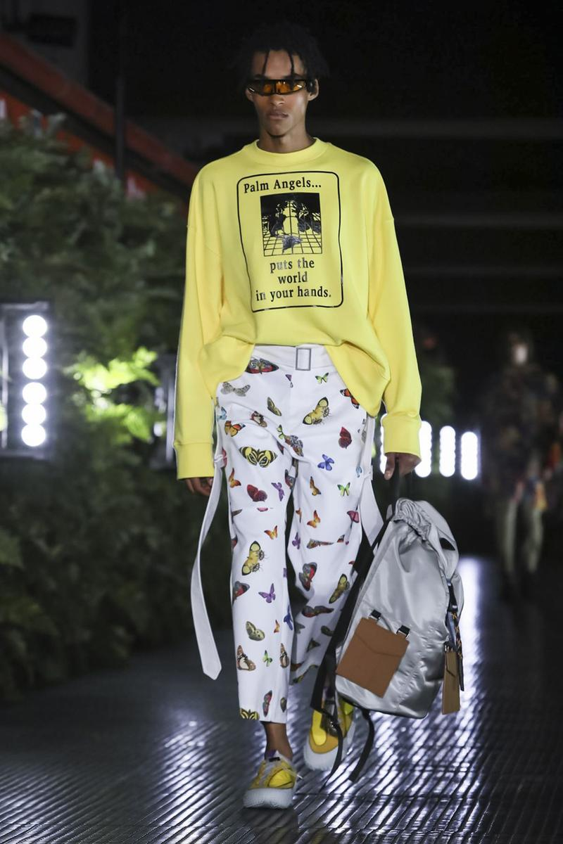 Palm Angels Spring Summer 2020 Collection Milan Francesco Ragazzi Los Angeles Floral pattern butterfly print resort lounge hawaiian shirt leather jacket Fashion Week