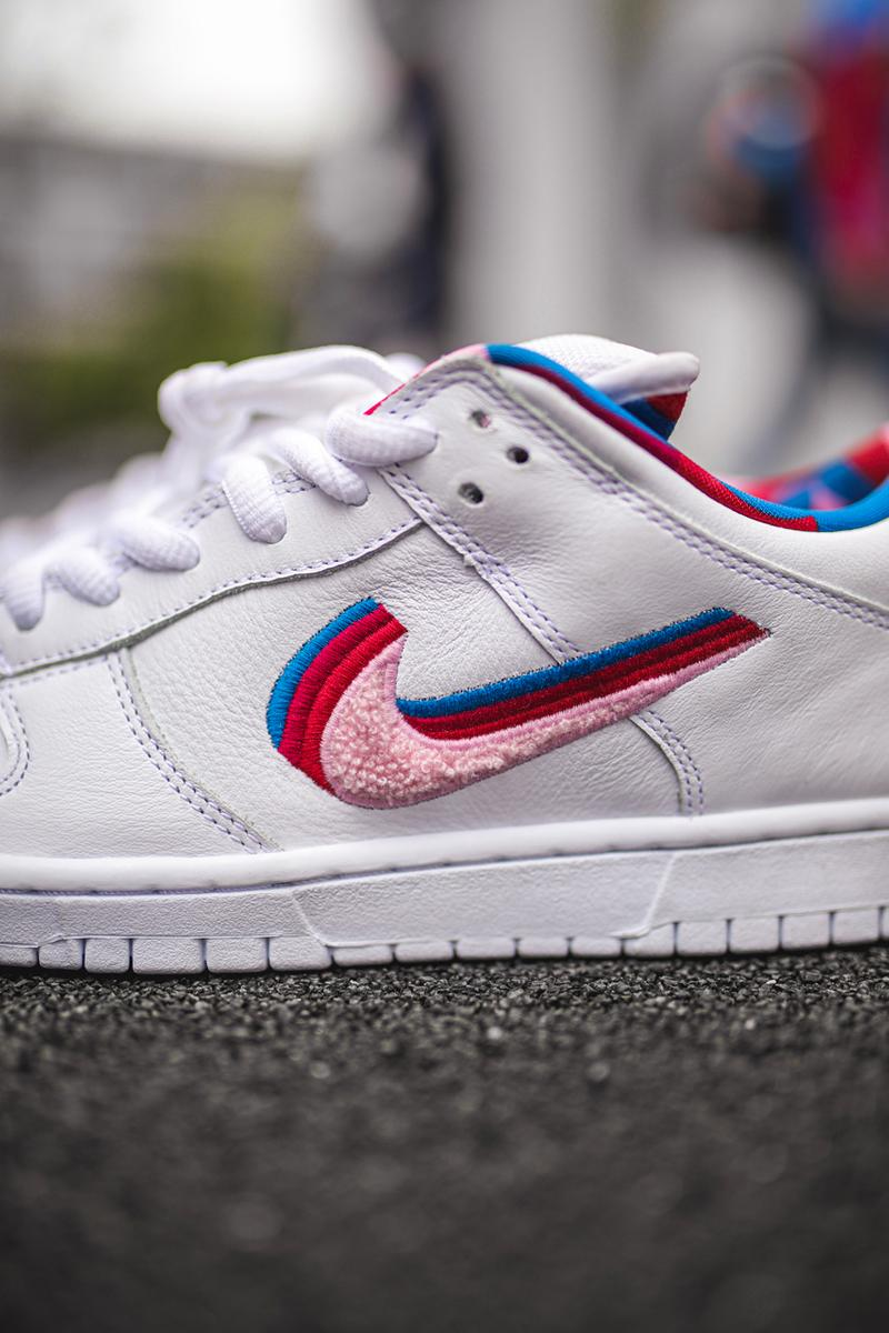 parra nike sb dunk low closer look sneaker collaboration closer look on feet release date info colorway