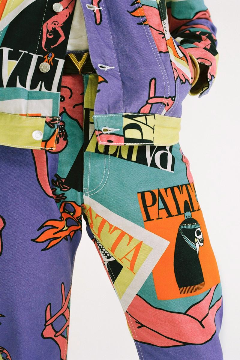 Patta Spring/Summer 2019 SS19 Collection Magazine Denim Printed Co-Ord Two Piece Lookbook Jacket Pants Cap Jeans Unique Cutting Process London Amsterdam Online June 7