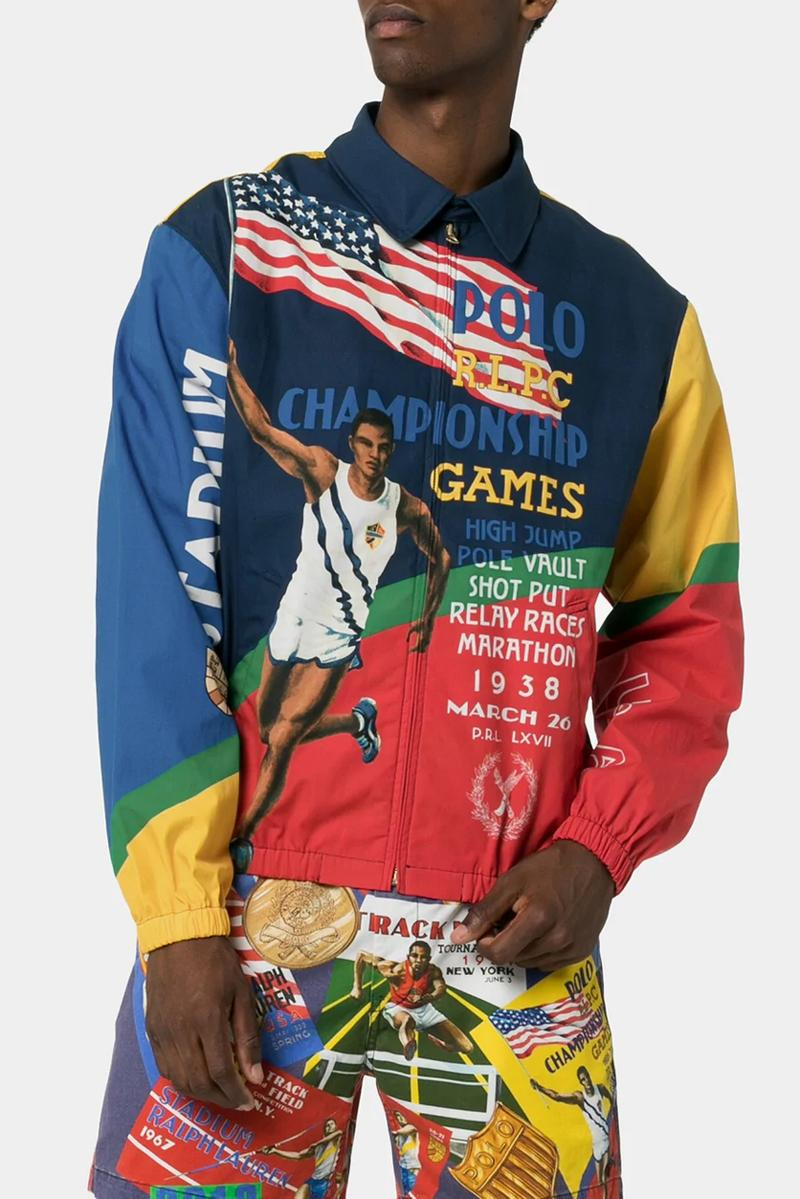 polo ralph lauren sports print shorts championship games poster jacket