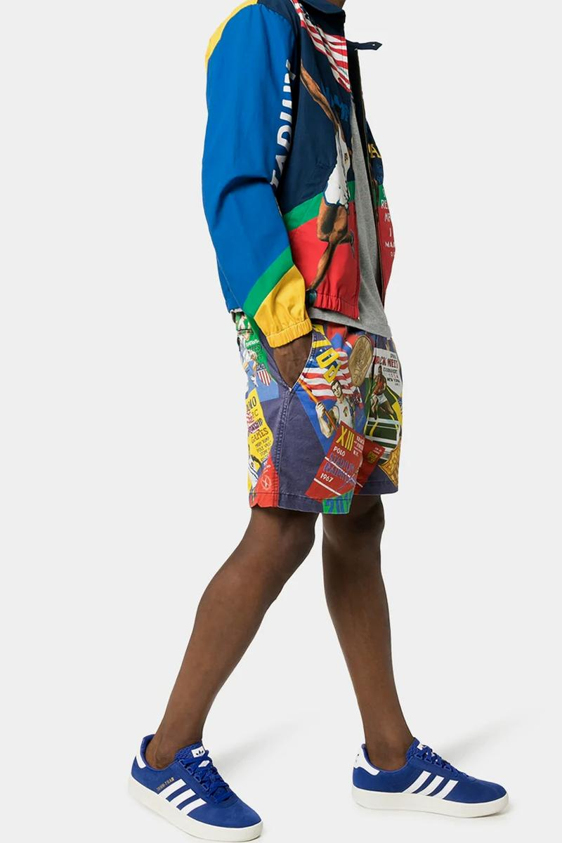 polo ralph lauren sports print shorts championship games poster jacket