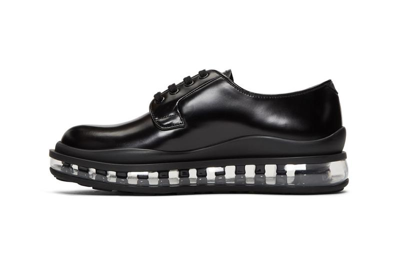 prada black leather bounce derbys shoes release clear translucent sole