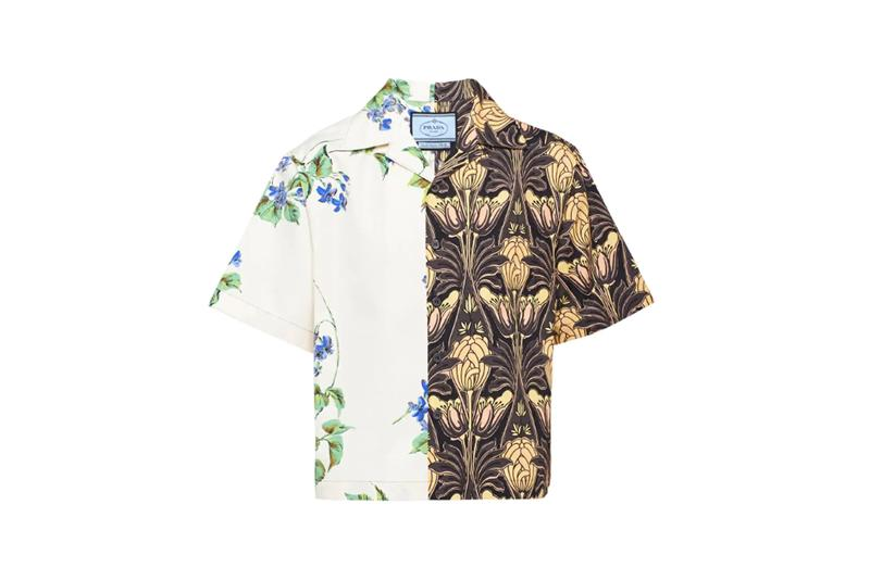 prada double match bowling collar cotton shirt spring summer 2019 release archival archive banana leopard print buttonup