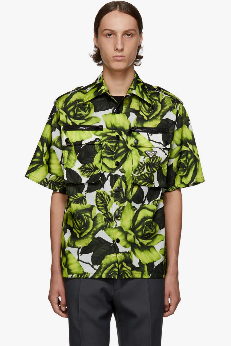prada green white big rose print bowling shirt release