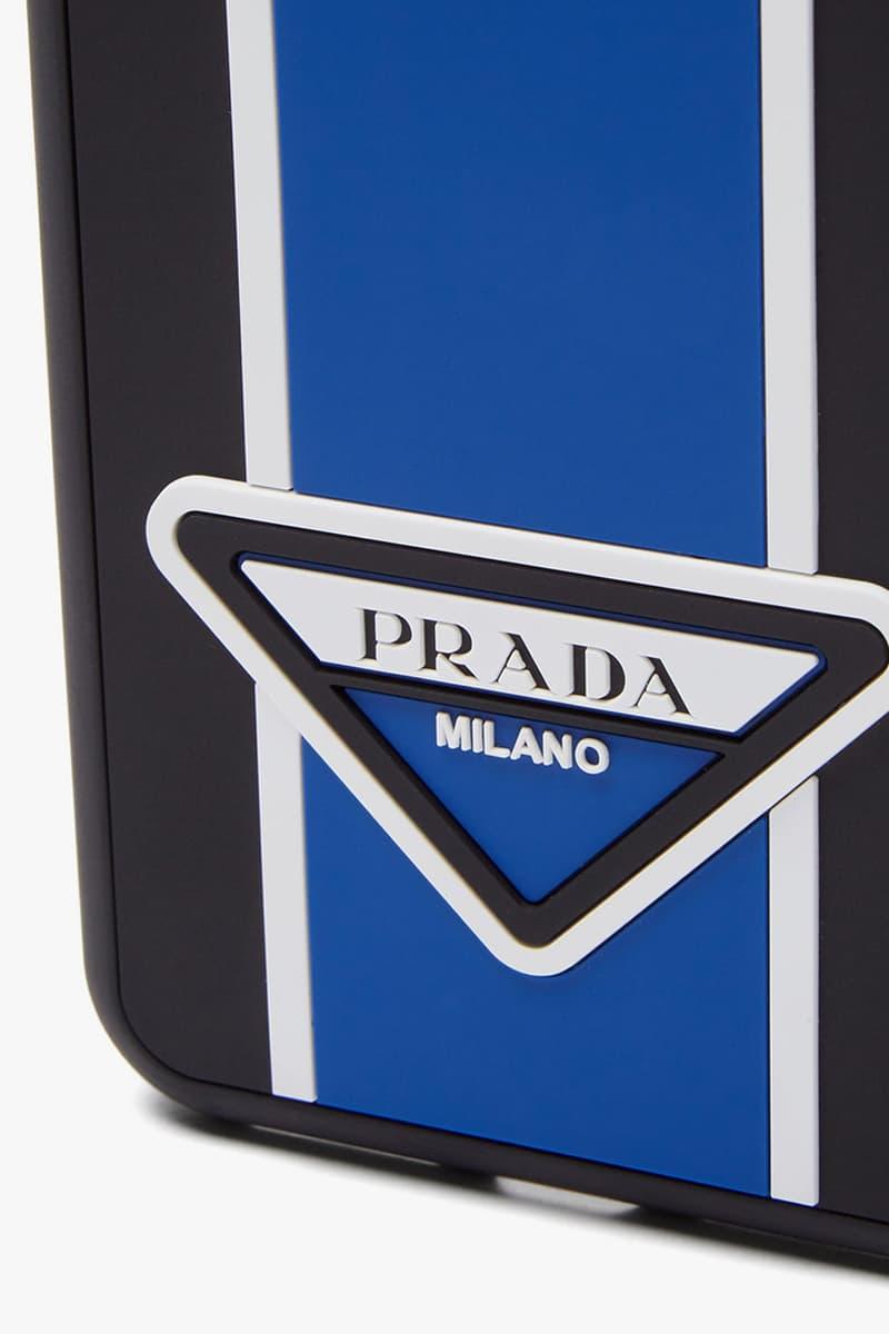 Prada Logo stripe iPhone XS Max Case Sporty Fall Winter 2019 Italian luxury hard shell rubber case triangle logo milano
