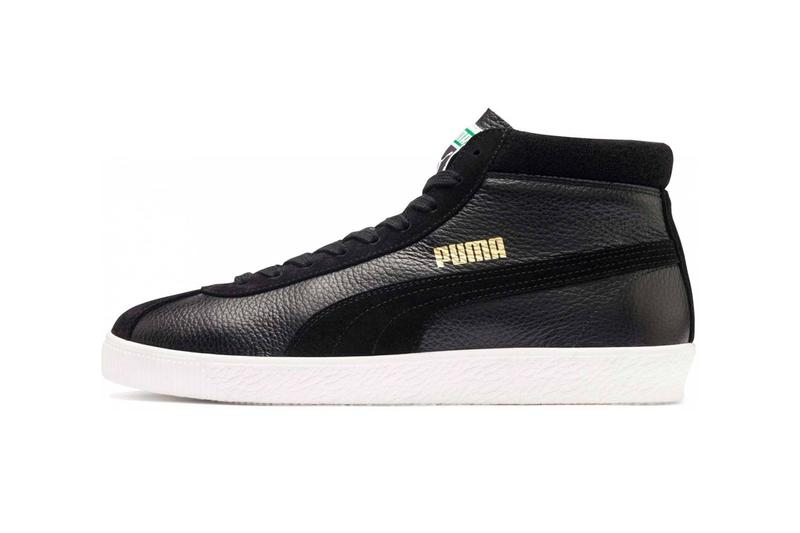 PUMA Basket 68 Mid White Black Vintage Silhouette Sneakers suede soft cotton collar high ankle gold trim side stripes 1968 original archives