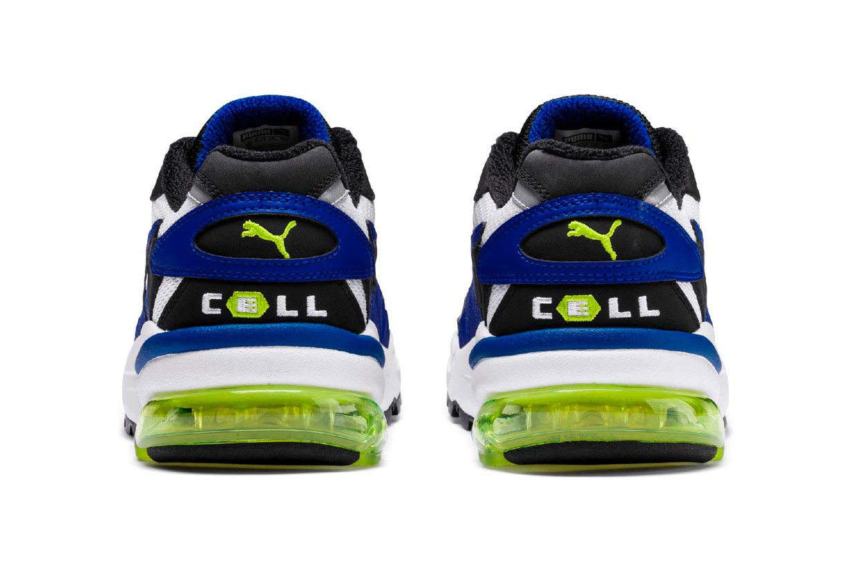 PUMA Cell Alien OG original colorway launch 90s running shoes technology green blue black running heel mesh upper