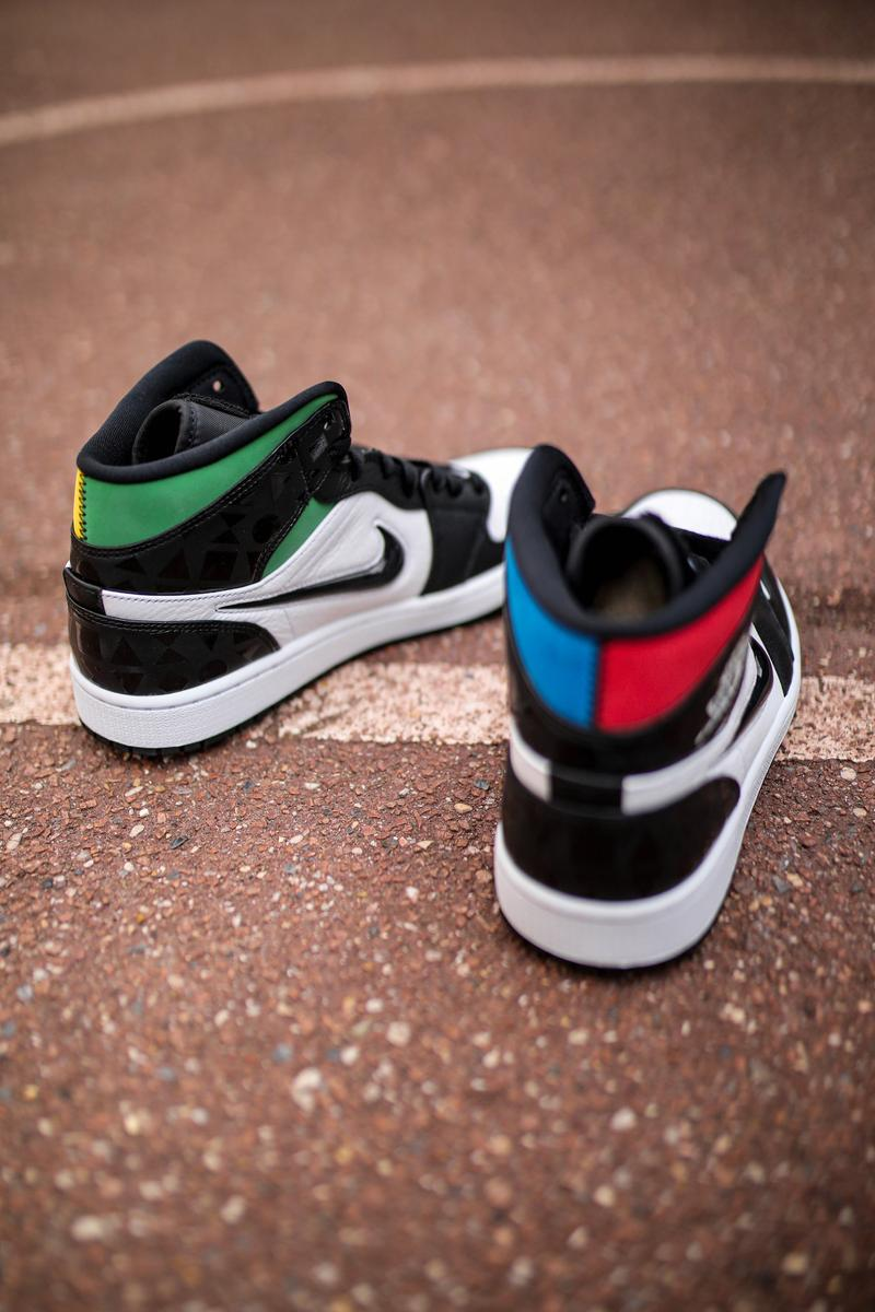 "Air Jordan 1 Mid ""Quai 54"" Closer Look jordan brand air jordan basketball court paris street tournament red green blue yellow"