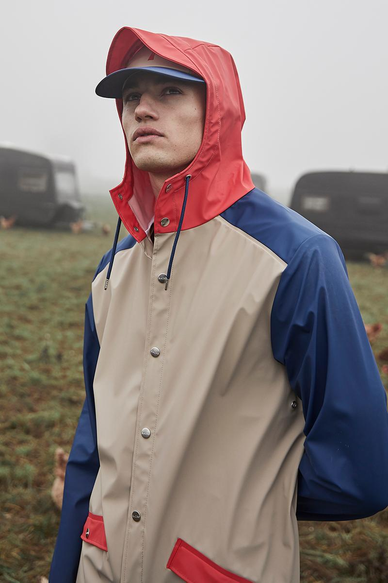 RAINS Color Block Capsule Pre-Fall 2019 Collection Lookbook Chicken Farm Long Jacket Anorak Backpack Dad Cap Boonie Hat Tracksuit Jacket Pants Mini Bum Bag