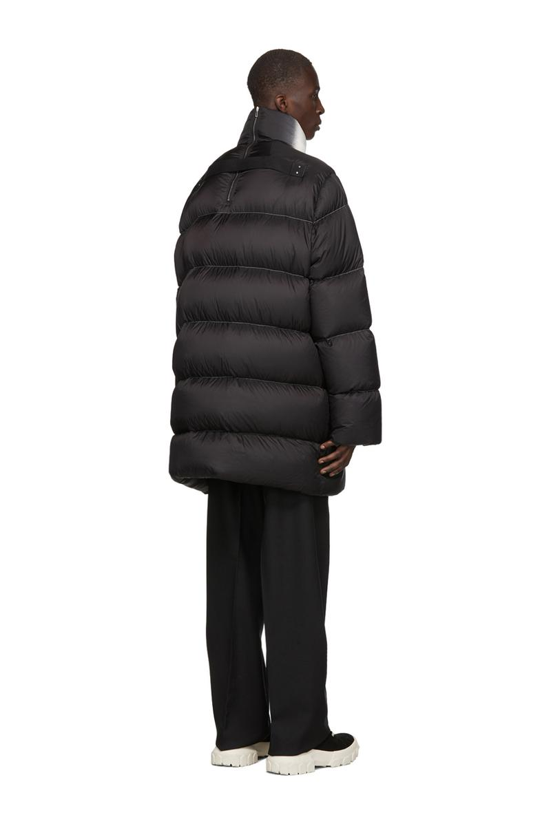 Rick Owens Black Down Jumbo Duvet Jacket Black Silver White Gradient Fade Sling Shoulder goose quilted contrast stitching made in italy