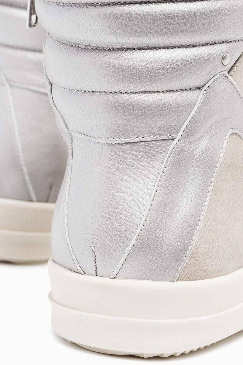 Rick Owens Geobasket High-Top Sneakers Ivory Silver Release Red