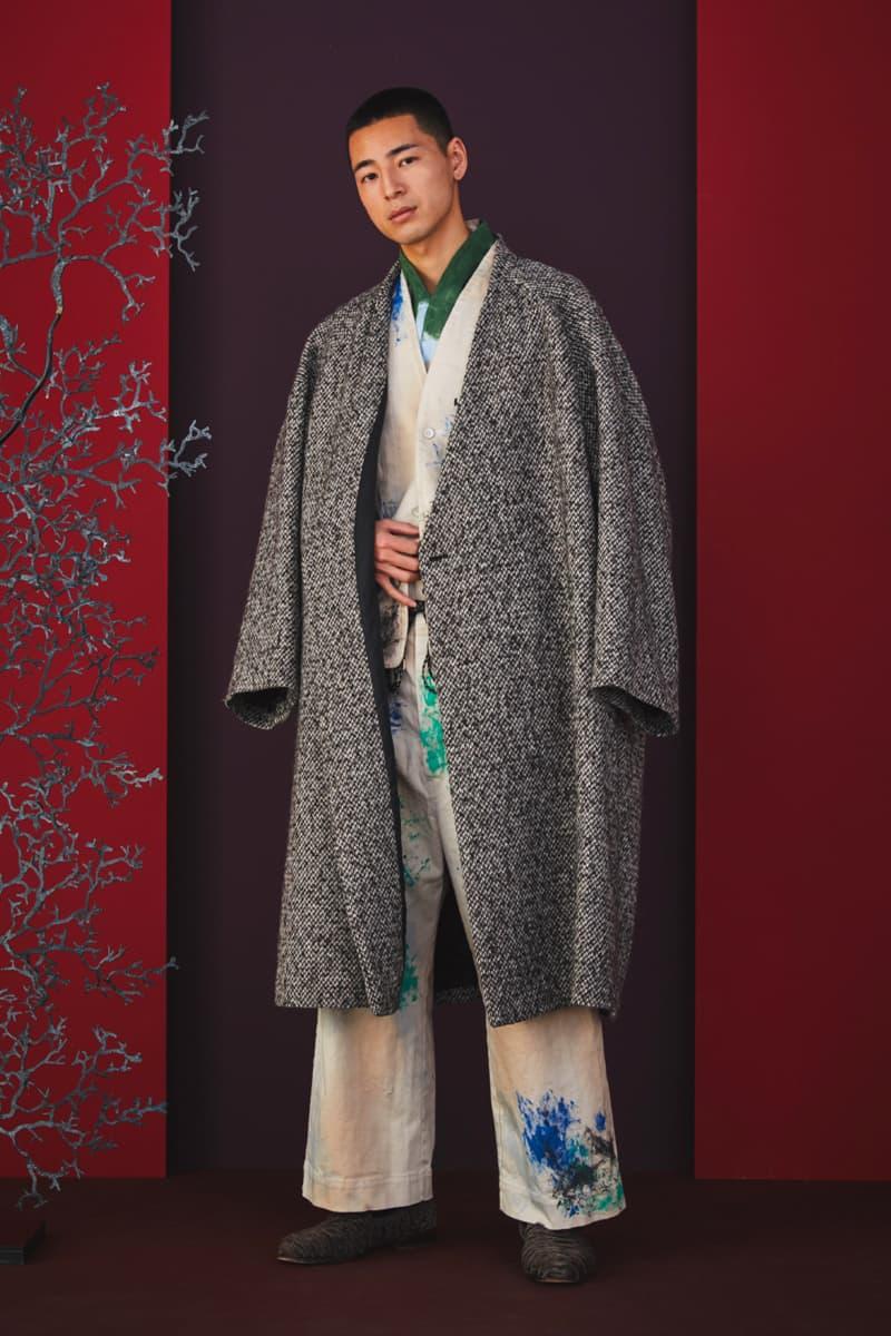 Sasquatchfabrix Fall Winter 2020 Collection Matsurowanumono kimono noragi traditional japanese japan streetwear denim paintsplatter velvet plaid gown happi sumi-e ink tokyo lookbook