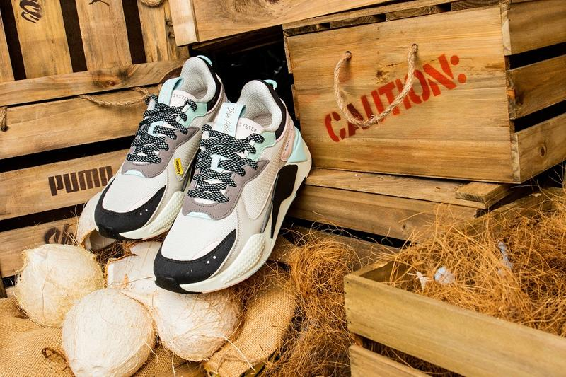 shoe palace shoes sneakers footwear clothes clothing apparel line spring summer 2019 june falling coconuts white teal black grey gray blue rs x collab collaboration puma t shirts tees shorts