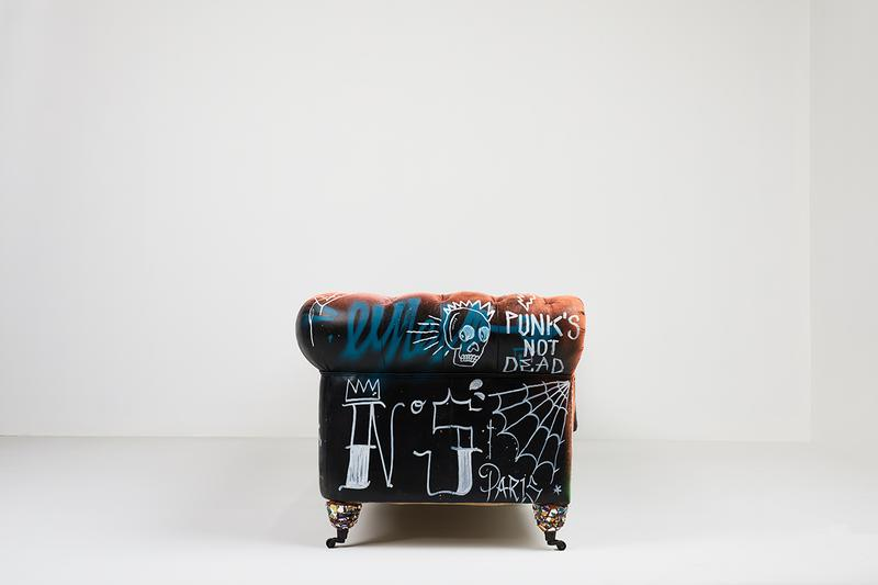 Bois & Cuir Store Stikki Peaches x CDI Furniture 'Ceci N'est Pas Un Divan' Collection Canadian Graffiti Artists Artwork Covered Sofa Four Distressed Vintage Chesterfield Divans Artworks Release Information