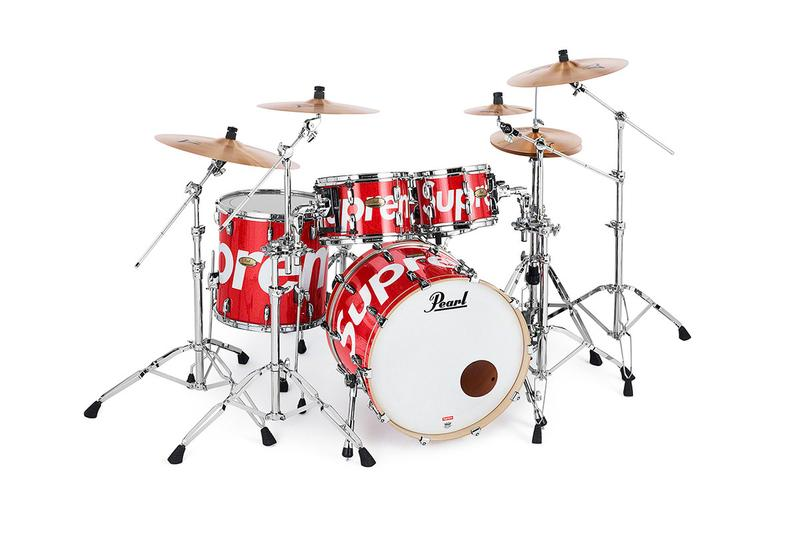 Supreme x Pearl Drum Kit Releasing Price $3,998 USD collaborations musical instruments drum set tom toms bass drum cymbals hi hat