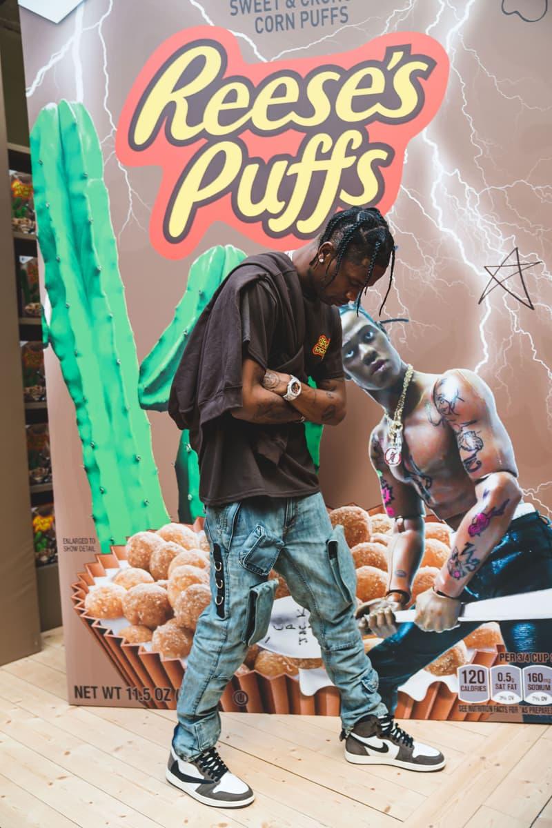 Travis Scott at His Reese's Puffs Paris Pop-Up cereal merch cactus jack