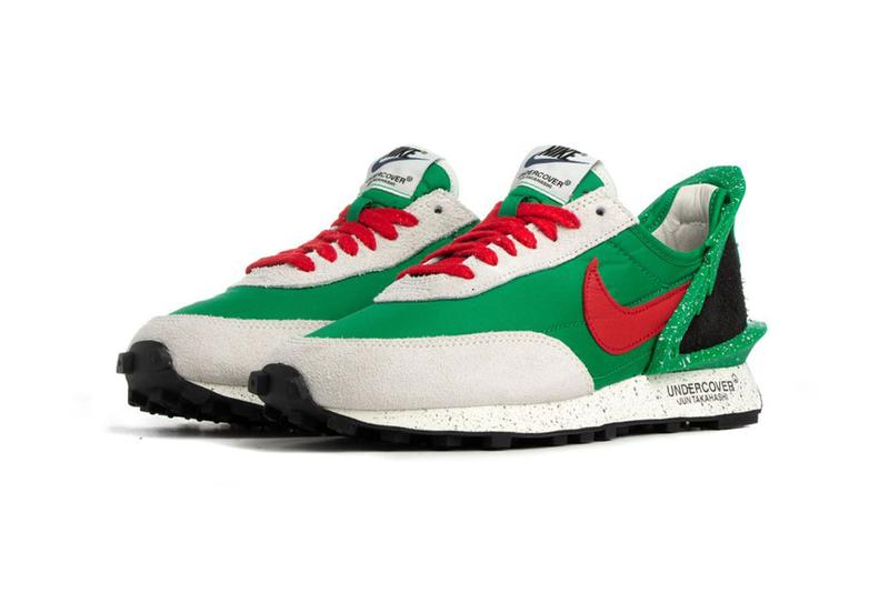 undercover nike daybreak collaboration sneaker colorway second drop LUCKY GREEN/UNIVERSITY RED-SAIL BLACK-SAIL CJ3295 300 001 release date info june 21 2019