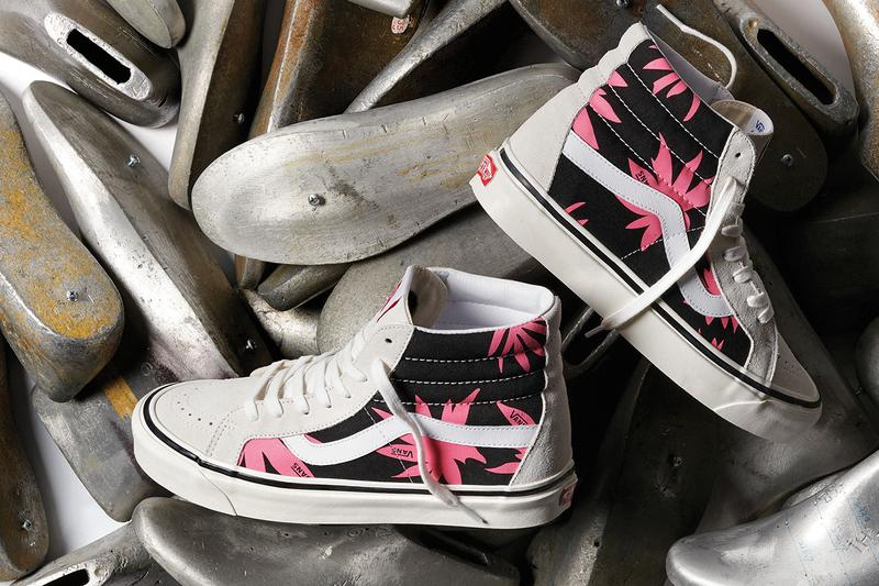 vans anaheim era sk8-hi factory collection pack print stripes summer leaf release information first look buy cop purchase blue red black pink
