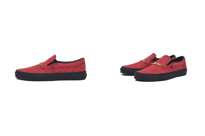 Vans Era Olde English Black & Red Velvet suede waffle sole brand tag gold letters