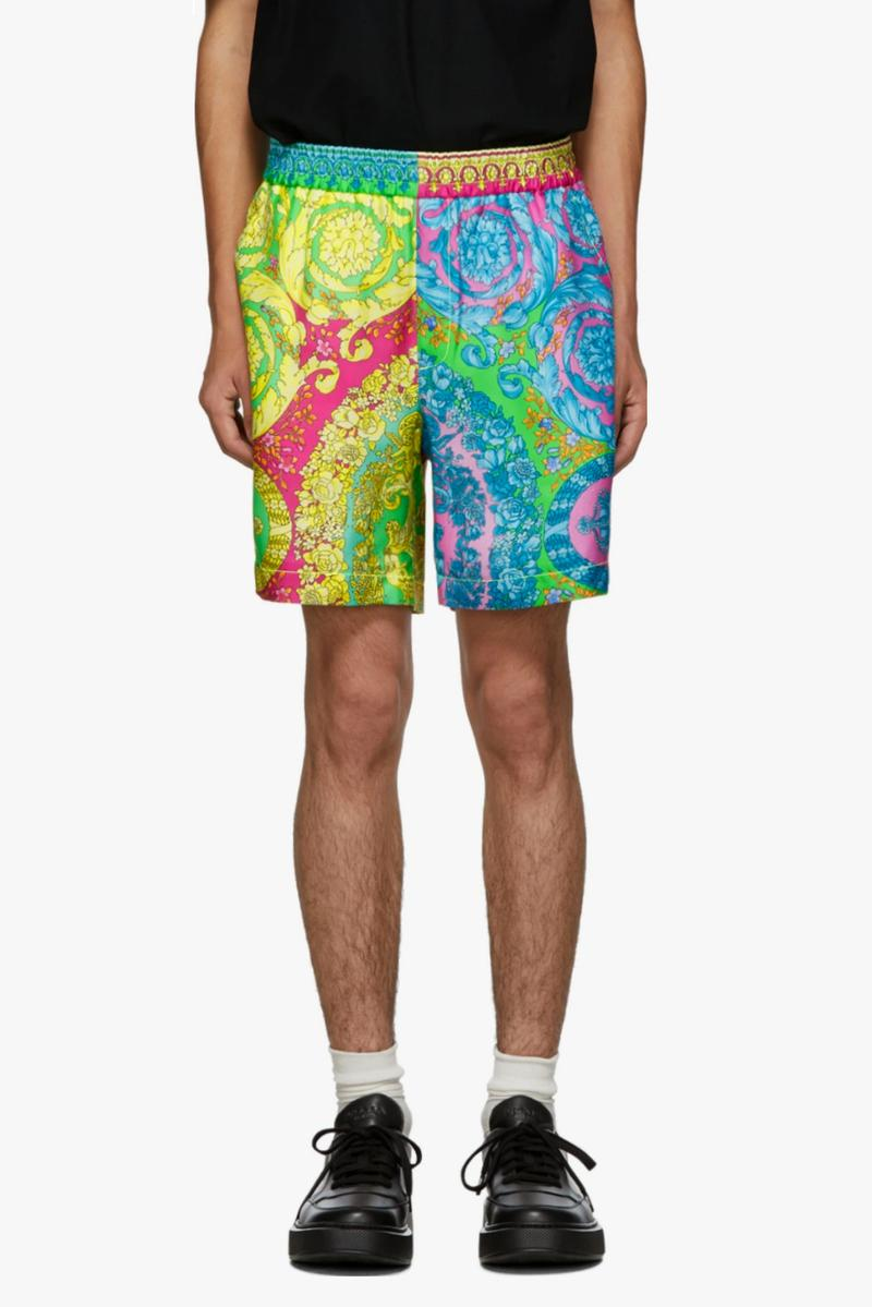 "Versace ""Baroque"" Shorts Release 100% silk blue orange print SSENSE"