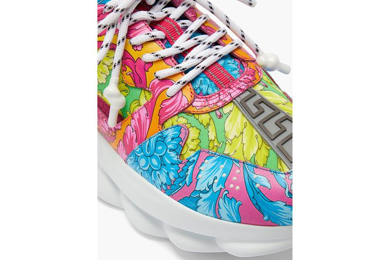 Versace Chain Reaction Baroque Print Sneaker Release Information Cop Online Matchesfashion.com $1048 USD Chunky High End Fashion Shoes Signature Motif Rubber Greca Panel