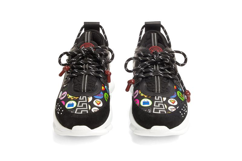 Versace Chain Reaction Neoprene Slogan Printed Chunky Trainers Sneakers Black Braille Motif Greca Pattern Love Twitter Buttons Pop Art Graphics Cop Online Buy Now Where to Purchase Release Information