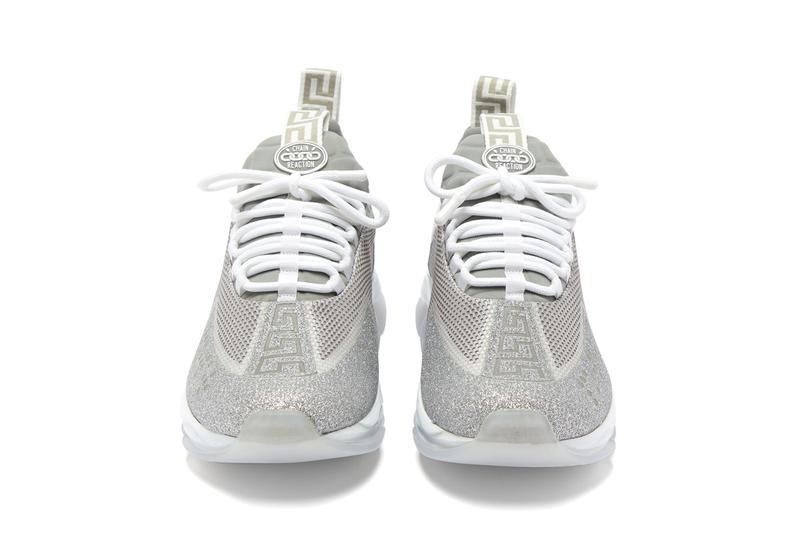 versace cross chainer glitter embellished trainers gray colorway release
