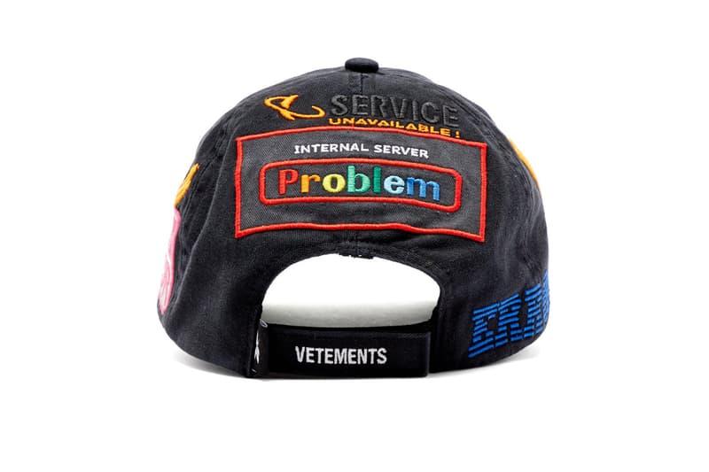 vetements error embroidered twill baseball cap fall winter 2019 computer privacy fashion message hat demna gvasalia