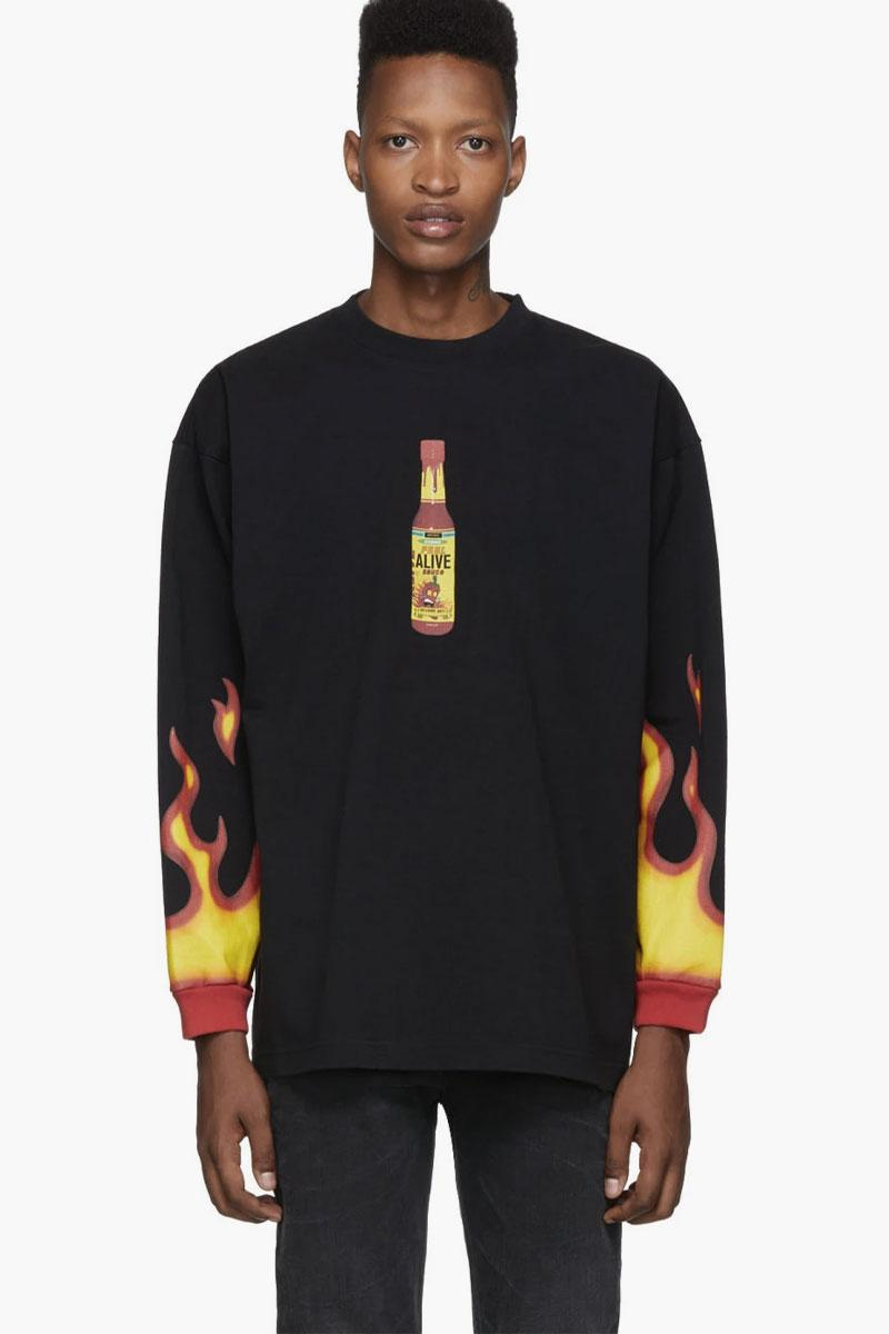 Vetements Hot Sauce T-Shirt Release Black demna gvasalia