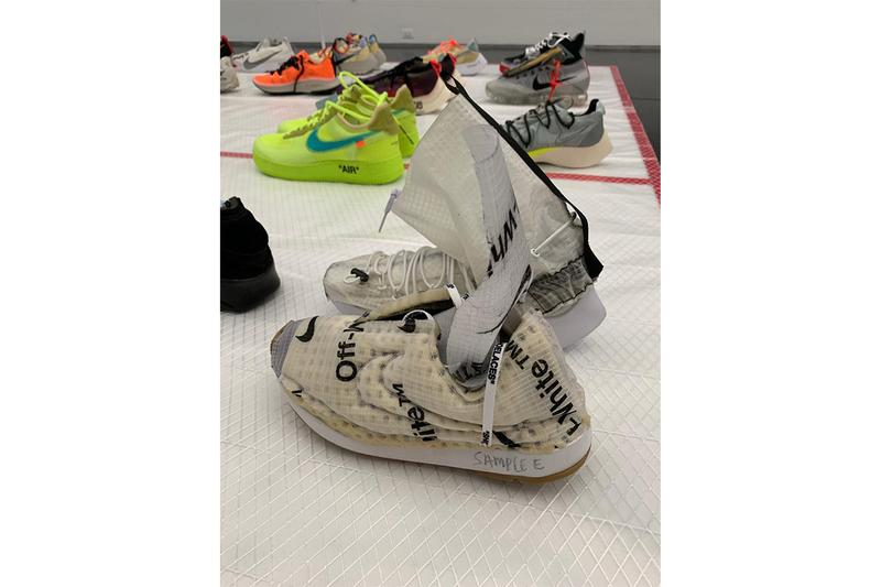 "Virgil Abloh MCA Exhibition Sneakers Display Nike Air Jordan brand 4 3 1 Air Force 1 presto vaporfly sock dart vapormax ""Figures of Speech"" samples"