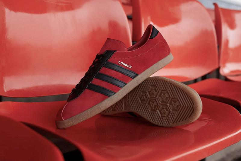 adidas Originals City Series London OG 1970s Terrace Culture Sneaker Release Information Drop Date END.Clothing Raffle Suede Red Brand With The Three Stripes Gold Foil Black Zig Zag Cut