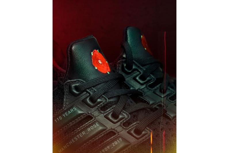 "Manchester United x adidas UltraBOOST ""Rose"" Release football soccer FA cup win sneakers black red red Lancashire rose"