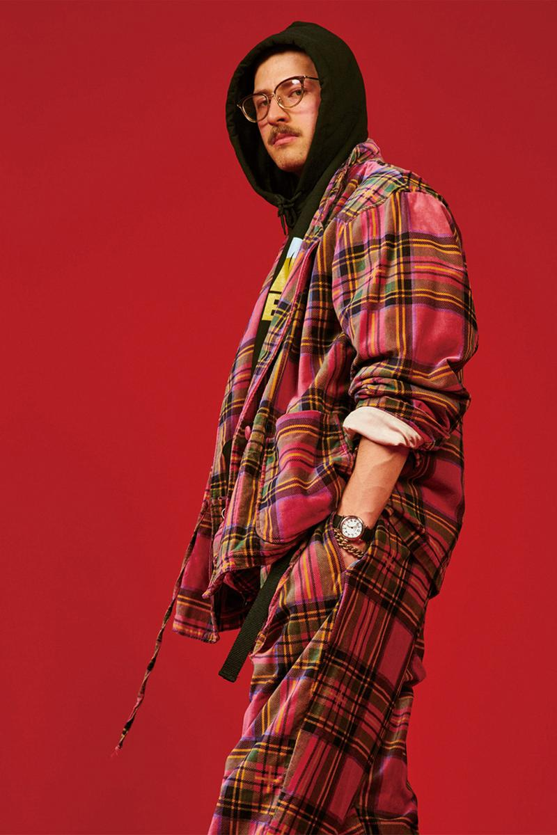 AïE Fall Winter 2019 collection Nepenthes Tokyo Japanese label tailored duck canvas americana workwear flannel leather plaid traditional mill houndstooth fleece puffer layering