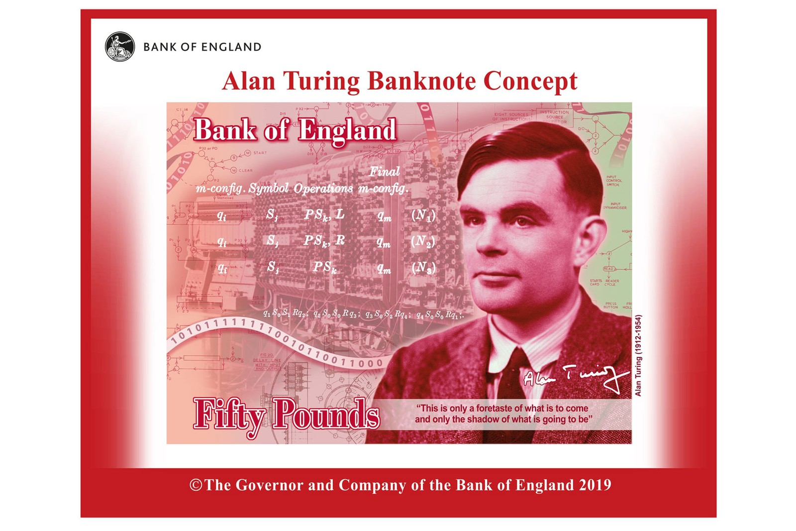 Alan Turing Chosen for Bank of England £50 Note money banknotes bills sterling pounds benedict cumberbatch the imitation game