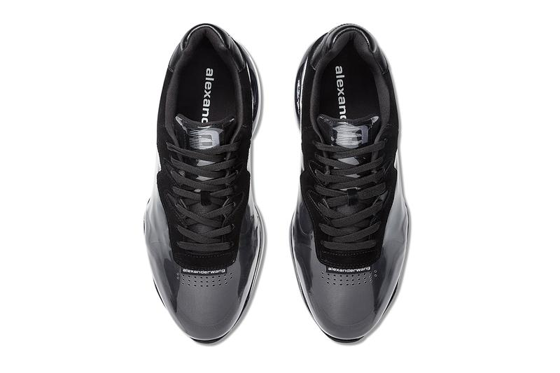Alexander Wang Stadium Sneaker Black White pvc suede leather mesh logo see through plastic layer futuristic rubber technology padded collar ss19