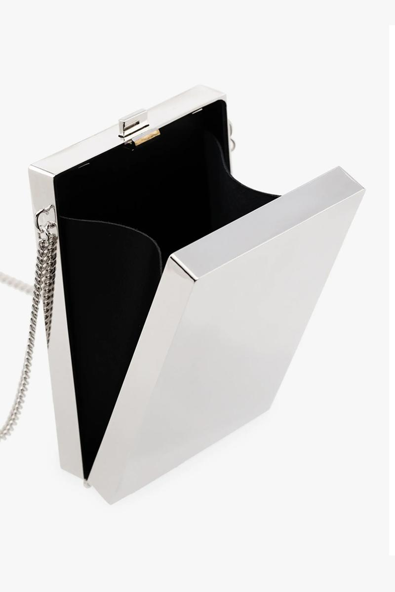 Metallic Silver Card Case Necklace Blue And Silver Cigarette Case holder Brass yoon ahn sheen gloss accessories 925 debossed branding